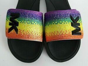 MICHAEL Michael Kors SUIDE Rhinestone Rainbow Slides