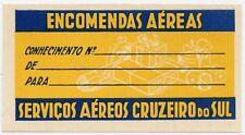 Servicos Aereos Cruzeiro Do Sul Aviation Vintage Airline Luggage Baggage Label