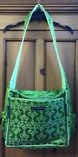 PETUNIA PICKLE BOTTOM DIAPER BAG - GREEN SATIN embroidered  Pattern EUC !!!