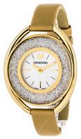 Swarovski Oval 1700 Crystalline Fabric Gold Tone Women Watch 5158972 New in Box