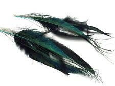 """Long Black Blue Feather Earrings Shoulder Duster Chains feathered 8"""""""