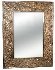 "WALL MIRROR HAND CARVED 25""x19"" LEAF DESIGN SOLID MANGO WOOD FRAME"