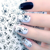 Water Decal Nail Art Transfer Sticker Tips DIY Line Flower Black Simple Drawing