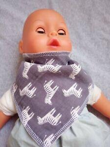 Halstuch Baby Spucktuch verstellbar Zebra Junge Mädchen neu Handmade grau rosa