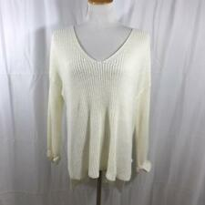 20edacba32 Pink Diamond Brand LF Stores Cream V-Neck Chunky Knit Cream Sweater Sz M