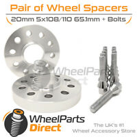Wheel Spacers (2) & Bolts 20mm for Peugeot 508 [Mk1] 11-16 On Aftermarket Wheels