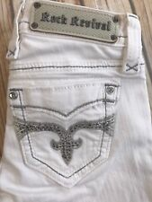 ROCK REVIVAL SAPPHIRE STRAIGHT STRETCH EMBELLISHED WHITE JEANS 24 X 31