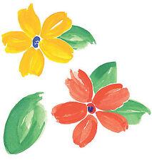 Fresh Flowers Wallies Spring Flower Cutouts 25 Stickers Orange Yellow Green Leaf