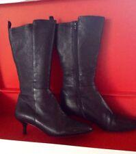 DKNY Donna Karen NewYork low heel mid calf Black leather boots 8 M