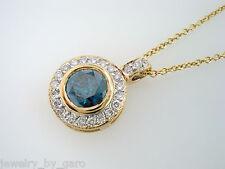 FANCY ENHANCED BLUE & WHITE DIAMOND PENDANT NECKLACE 0.93 CARAT 14K YELLOW GOLD
