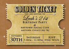 Birthday invitations 18th 21st 30th Golden Ticket inc envelopes