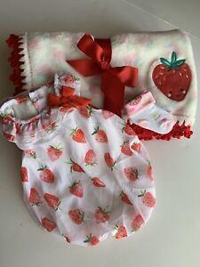 Strawberry Plush Baby Girl Crochet Blanket 3 Piece Gift Set