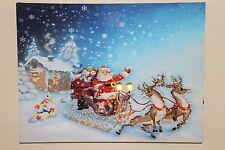 Father Christmas Sleigh Scene Canvas Picture Print With LED Lights