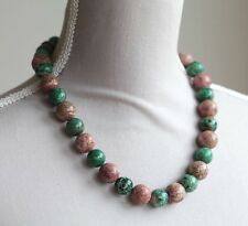 GREEN & BROWN PICTURE JASPER CHUNKY NECKLACE 20""