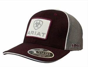Ariat Mens Flexfit 110 Adjustable Snapback Cap Hat (Burgundy/Grey)