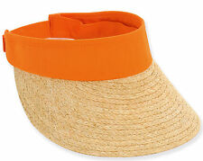 SPECIAL SALE!! Sun N Sand VISOR RAFIA COTTON GOLF TENNIS RESORT CRUISE ORANGE