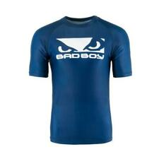 Bad Boy Origin Rash Guard Short Sleeve Blue White MMA BJJ No Gi Grappling