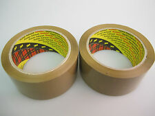 2 x Rolls of 3M 371 Scotch Brown Buff Parcel Packing Packaging Tape 48mm x 66m