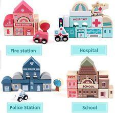 Bausteine Stadtplan Bauset Holzklötze Spielzeug Kiste Kinder 115 Stück B-WARE