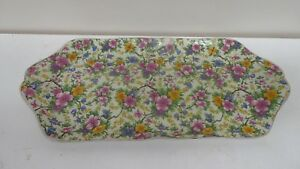 VINTAGE EMPIRE WARE CHINA FLORAL ALLOVER CHINTZ MAYTIME SANDWICH TRAY CAKE PLATE