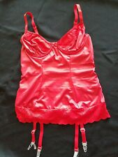 VTG Red Lingerie Nylon Lace Liquid Satin Teddie Size S