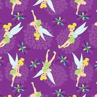 Disney Tinkerbell Toss Purple 100% Cotton fabric by the yard