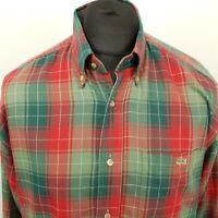 Lacoste Mens Vintage THICK Shirt Flannel 40 MEDIUM OVERSIZED Classic Fit Check