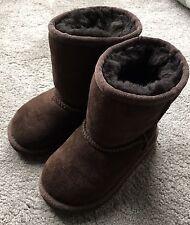 Autentico UGG Neonato Classico Corto Castano Weather Stivali UK 7 neonato *