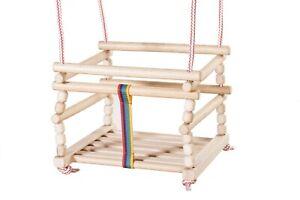 Wooden baby swing is very solid door frame indoor or outdoor garden tree Natural