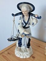 Vintage Leonardo Collection Blue & White Porcelain Figurine of an Oriental Lady