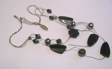 Great 3x strand silver tone metal chain necklace black bead by Jasper Conran