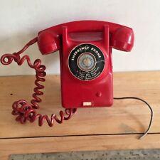 1957 Vintage Red Dukane Emergency Telephone made in Austria - atomic era phone
