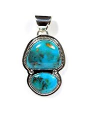 Authentic Navajo Made Turquoise Sterling Silver Pendant Necklace. Signed Lp