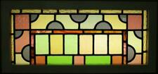 """OLD ENGLISH LEADED STAINED GLASS WINDOW TRANSOM Stunning Victorian 32.75"""" x 15"""""""