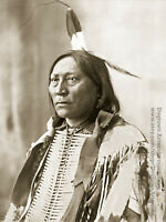 Large Restored Vintage Native American Indian Photo CHIEF HOLLOW HORN BEAR Sioux