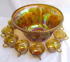 VTG..INDIANA GLASS..GOLD CARNIVAL..IRIDESCENCT..HARVEST GRAPE..PUNCH BOWL..SET