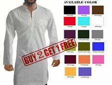 Indian traditional 100% cotton Men's kurta long solid ethnic dress shirt kaftan
