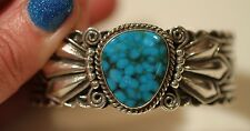 Navajo Cadman Sterling Silver Cuff With Birdseye Spiderweb Turquoise Cabochon