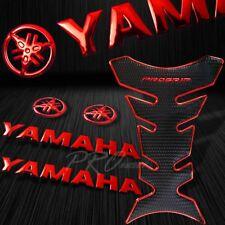 "Chromed Red Pro Fuel Tank Pad+8"" 3D Yamaha Logo+Letter Fairing Emblem Sticker"
