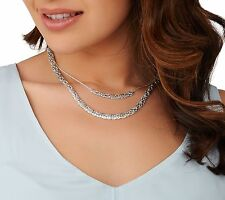 "16"" 18"" Layered Byzantine Chain Necklace Real 925 Sterling Silver 2 pcz QVC"