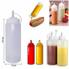 6x 8Oz Clear Plastic Squeeze Sauce Ketchup Mustard Bottle Oil Dressing Barbecue