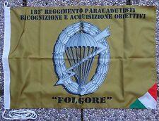 """Bandiera 185° RGT. PAR. RICOGNIZIONE ACQUISIZIONE OBIETTIVI """"FOLGORE"""" - (50X75)"""
