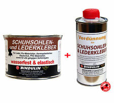 Leder & Schuhsohlen Klebstoff 350g Dose + Verdünnung 250ml Profi Lederkleber Set