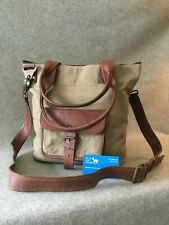 """Waxed Canvas Tote Bag Goat Leather WC-TOTE-P Pocket Handmade 13"""" Laptop YKK Zip"""