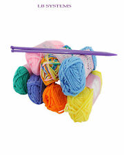 Craft Knitting Starter Kit 5mm Needles Colour 7 Balls of Wool Hobby Yarn Set 20g