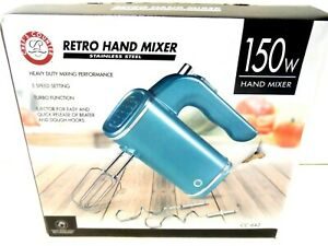 Retro Hand Mixer NEW Stainless Steel Teal model # CC-642 Chefs Counter NEW