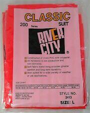 NEW SAFETY ORANGE RAIN COAT SUIT PVC RUBBER JACKET PANTS SET LRG 42-44