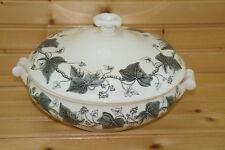 "Wedgwood Napoleon Ivy Black Round Covered Vegetable Serving Bowl, 8 3/8"""