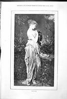 Original Old Antique Print Portrait Psyche Beautiful Woman Outdoor Scene 1878