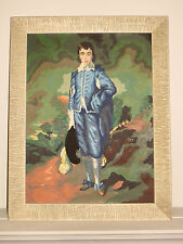THE BLUE BOY - 1960s Paint by Number PAINTING in ORIGINAL PERIOD FRAME - KITSCH!